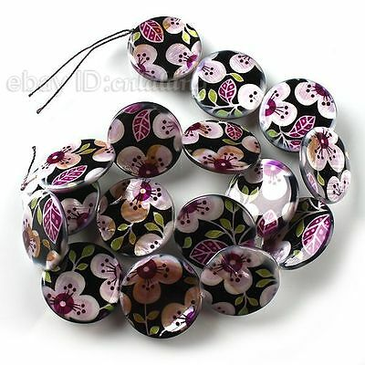 1strings New Purple Flowers Oblate Disc Loose Shell Bead 25mm Handmade Crafts