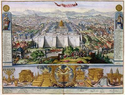 Jesus in Jerusalem & its Temple Birds eye View Old Color Colour Map Plan Poster