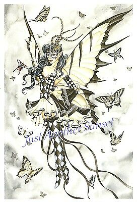Nene Thomas Print 5x7 Lithograph Fairy Faery Symphony in Black and White Mask