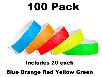 100 Pack. Includes Blue Orange Red Yellow Green. 19mm Tyvek Event Wristbands.