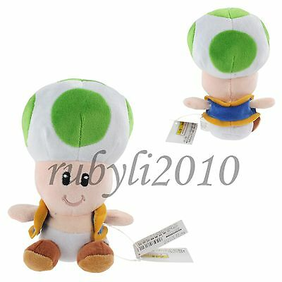 "super mario bros green toad 7"" soft plush doll toy figure cute"