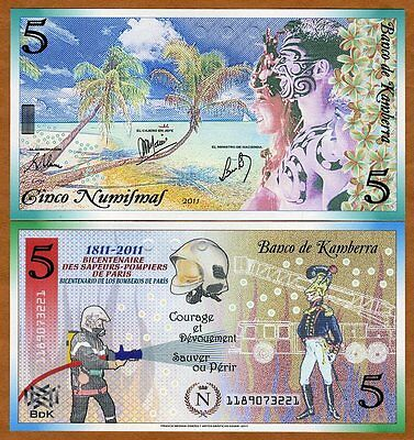 Kamberra, Kingdom, 5 Numismas, 2011, UNC > 200 years to French Fire Department