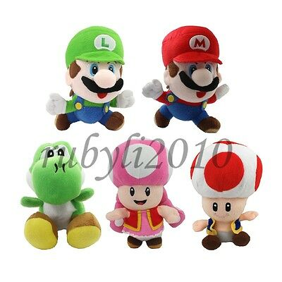 "super mario bros yoshi toad toadette 6-7""plush doll toy soft figure cute 5 pcs"