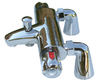New Chrome Deck Mounted Thermostatic Bath Shower Mixer Tap Taps, 1/4 Turn, 057D