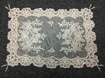 Gorgeous Handmade Beaded Sheer Unique Design Table Placemats - Cream color
