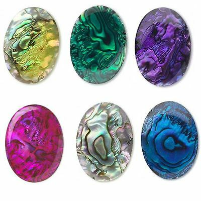 Big Iridescent Paua Shell 25mm x 18mm Flat Back Oval Cabochon In Bright Colors