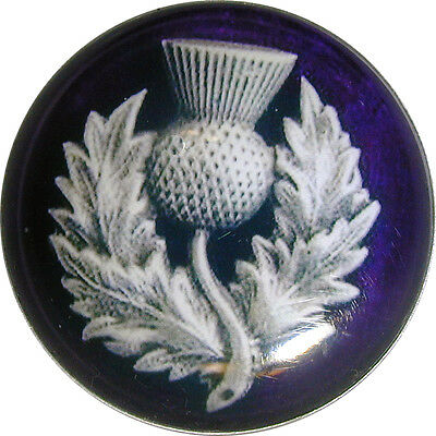 "Crystal Dome Button Scottish Royal Purple Thistle  Lg Size 1 & 3/8""  # 01"