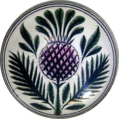 "Crystal Dome Button Scottish Thistle  Lg Size 1 & 3/8""  # 02"