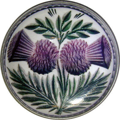 "Crystal Dome Button Scottish Double Thistle  Lg Size 1 & 3/8""  # 03"