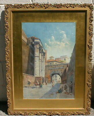 Gaetano Gioja Italian Water Color Of Old Rome Painting MAGNIFICENT