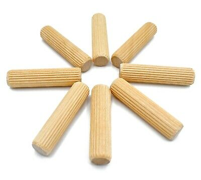 500, 6mm x 25mm FLUTED HARDWOOD WOODEN DOWEL PIN FOR WOODEN CABINET MAKING *