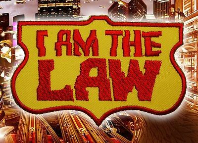 """JUDGE DREDD / 2000AD Classic """"I AM THE LAW!"""" Embroidered Iron-On Patch"""