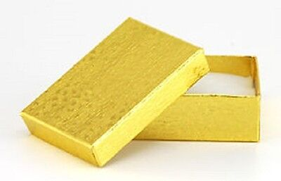 New 50 Small gold Cotton Filled jewlry Gift Boxes