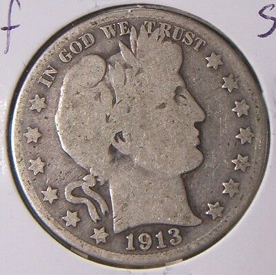 1913-S~~Barber Half Dollar~~Silver Beauty~~G-Vg