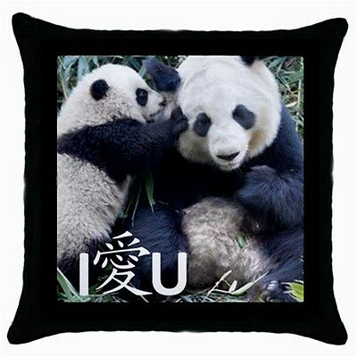 Chinese I Love U Mommy Giant Pandas Collectible Rare Photo Throw Pillow Case