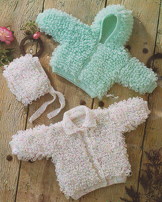 """Loopy Hooded Jacket, Collared Cardy & Baby Bonnet Knitting Pattern DK 14"""" - 24"""""""
