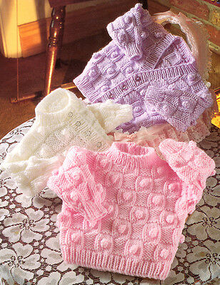 "Aran Basketweave & Bobble Baby Cardigans & Sweater 16"" - 22"" Knitting Pattern"