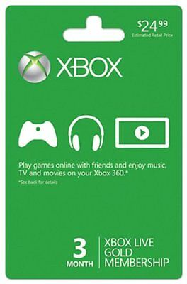 MICROSOFT XBOX 360 LIVE 3 MONTH GOLD CARD ~NEW! FAST!~