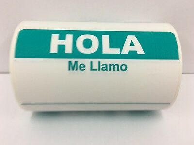 """Teal HOLA ME LLAMO Name Tag identification Labels (3-1/2""""x2-3/8"""", 300/Roll)"""