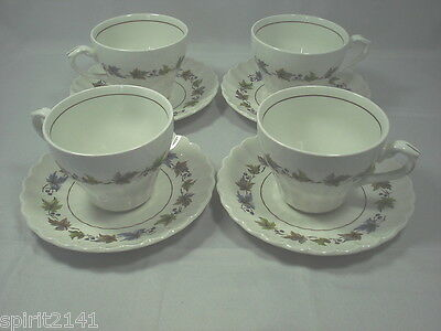 Set of 4 Cups & Saucers WOODLAND by J & G Meakin Great Condition 109264