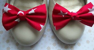PAIR RED WHITE STAR COTTON SHOE BOW CLIPS RETRO BOWS 50s VINTAGE STYLE HANDMADE