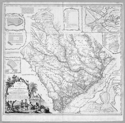 HUGE   1773 SC MAP Berkeley Calhoun County SOUTH CAROLINA HISTORY SURNAMES !!!