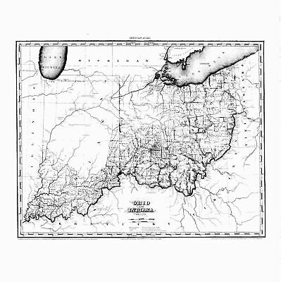 OHIO 1819 OH MAP JEFFERSON BELMONT HARRISON COUNTY history ITS HUGE