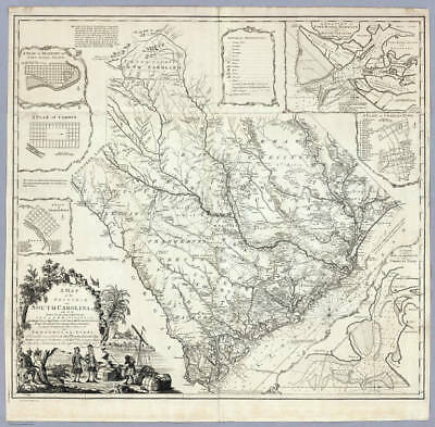HUGE 1773 SC MAP Smyrna Six Mile Smoakes Snelling Society Hill Starr SURNAMES !!