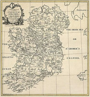Old Ireland Irish Map Cork Donegal Down Kerry Surnames!
