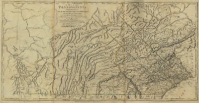 1797 PA MAP Warren Mifflintown Tower City Troy PENNSYLVANIA History SURNAMES BIG