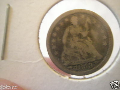 Super Nice Arrows 1853 Silver Seated Liberty Half Dime