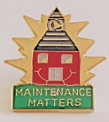 """MAINTENANCE MATTERS"" Schoolhouse Enamel Lapel Pins/Lot of 25/ALL NEW!"