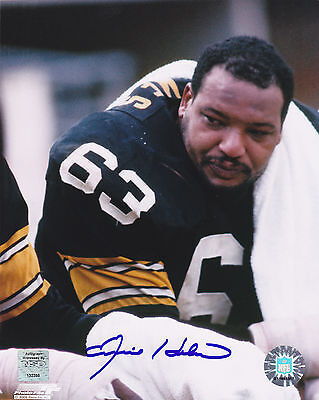 ERNIE HOLMES  PITTSBURGH STEELERS   ACTION SIGNED 8x10