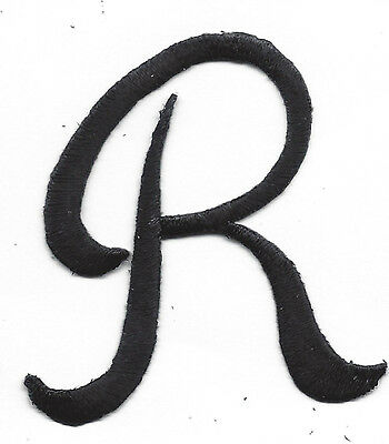 """BLACK SCRIPT LETTER """"R"""" Iron On Embroidered Patch"""