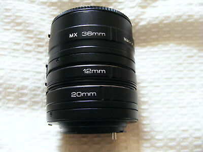 Camera  Lens  Triplus  Extension  Tube   MX  36mm  12mm  20mm   Made  In  Japan