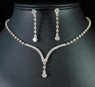 ELEGANT AUSTRIAN RHINESTONE CRYSTAL NECKLACE EARRINGS SET BRIDAL N1277 GOLD