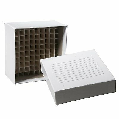 """10 NEW 100-WELL 2"""" CARDBOARD FREEZER BOXES by BIOLOGIX USA"""