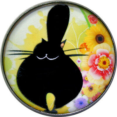 Black Cat -Chubby & Happy- Crystal Dome Button Lg Sz 1 & 3/8 inch PC07