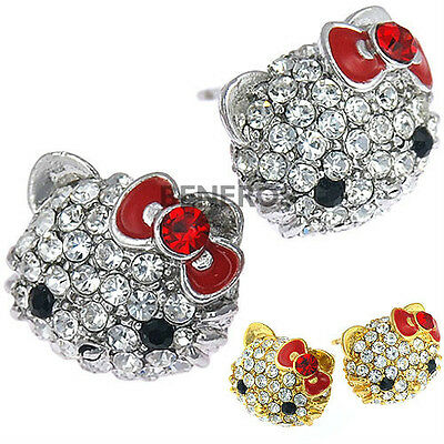 Cute Hello Kitty Stud Earrings Red Bow with Swarovski Crystals Silver/Gold