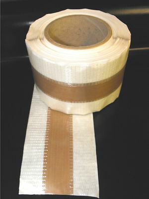 "PTFE GLASS CLOTH FABRIC HEAT SEAL ZONE TAPE .005""x85x30Mtrs ADH. EDGES C7S7P5"