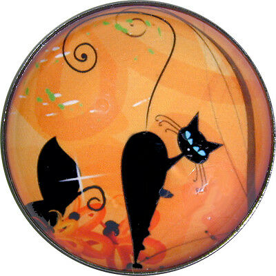 Black Cat Looking Backward- Crystal Dome Button Lg Sz 1 & 3/8 inch PC08