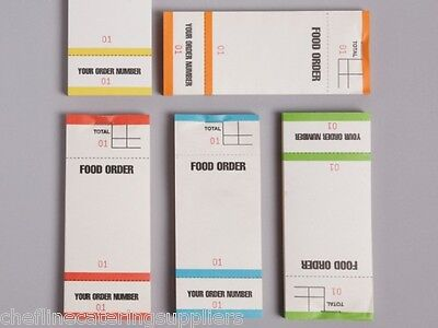 5x Food Order Pads Numbered 1-100 Coloured Bar Restaurant Waiter Book Pads