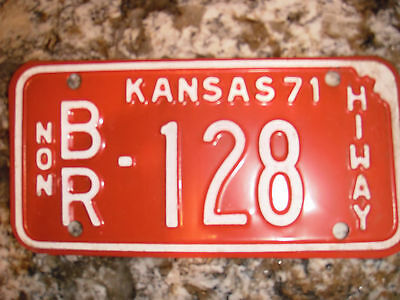 1971 Kansas  Nonhiway License Plate Br 128