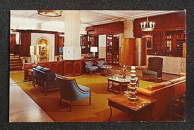 1960s Interior Lobby Hotel Eldridge Lawrence KS Douglas Co Postcard Kansas