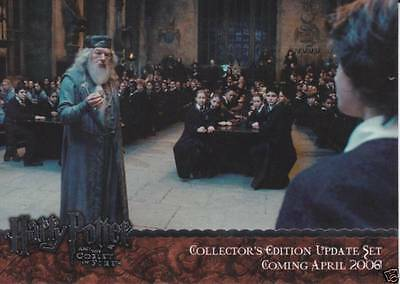 "2006 Artbox ""harry Potter And The Goblet Of Fire"" Update Promo Silver Card #01"