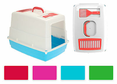 Hooded Cat Litter Tray With Filter, Door Flap And Scoop