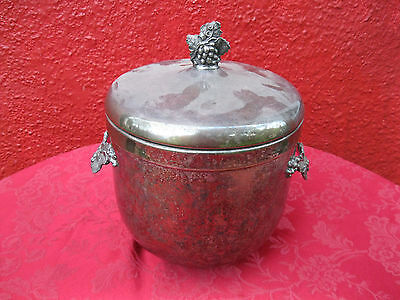 3 PC Antique Gorham  EP Silver Plated Ice Bucket # YC94 Raised Grape Design ✞