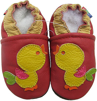 carozoo soft sole leather kids shoes bird red 4-5y