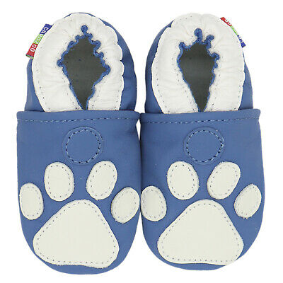 carozoo soft sole leather toddler shoes paw dark blue 3-4y