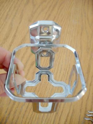 Vtg NOS 50's Bathroom Glass Cup Tumbler Holder Wall Mount CHROME ArT DeCo